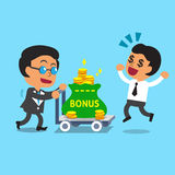 Cartoon business boss pushing bonus money trolley to businessman Royalty Free Stock Images