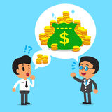 Cartoon business boss talking about more money than a businessman Stock Photos