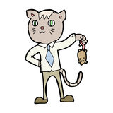 cartoon business cat with dead mouse Stock Image