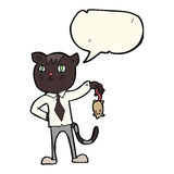 cartoon business cat with dead mouse with speech bubble Royalty Free Stock Images