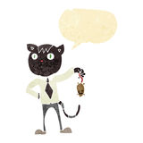 cartoon business cat with dead mouse with speech bubble Stock Photography