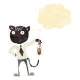 cartoon business cat with dead mouse with thought bubble Royalty Free Stock Photo