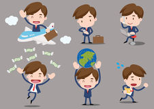 Cartoon business characters - business travel. Set of funny cartoon office worker go to travel,vector,illustration Royalty Free Stock Photo