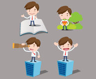 Cartoon business characters in different poses. Vector collection of cartoon business characters Stock Photography
