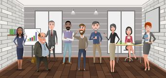 Cartoon business characters in the office. stock illustration