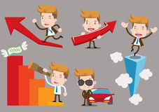 Cartoon business characters - Road to Success. Image represents success in business, economy growth, success in career, vector illustration Royalty Free Stock Images
