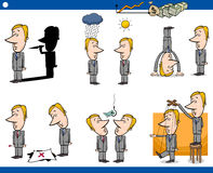 Cartoon business concepts set. Concept Cartoon Illustration Set of Business Metaphors with Businessman Characters royalty free illustration