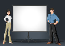 Cartoon business couple and white billboard Royalty Free Stock Photos