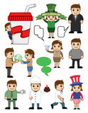 Cartoon Business and Holiday People Characters Stock Photo