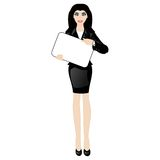 Cartoon business lady with a sign Royalty Free Stock Photography