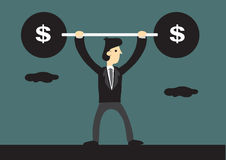 Cartoon Business Lifts Barbell with Dollar Sign Stock Photography