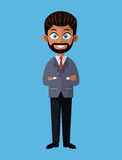 Cartoon business man bearded crossed arms elegant. Vector illustration eps 10 Royalty Free Stock Image