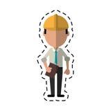 Cartoon business man construction clipboard helmet. Vector illustration eps 10 Royalty Free Stock Photos