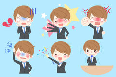 Cartoon business man. Cute cartoon business man do different emotion Stock Photography