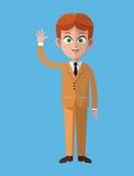 Cartoon business man executive work Royalty Free Stock Image