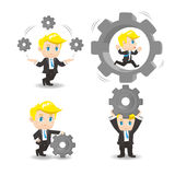 Cartoon Business man hold gear Royalty Free Stock Image