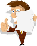 Cartoon business man holding blank paper Royalty Free Stock Photos