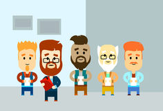 Cartoon Business Man Holding Paper Document Group Hipster Team Office Royalty Free Stock Photography