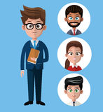 Cartoon business man holds folder group people Stock Photography