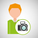 Cartoon business man photographic camera icon Royalty Free Stock Photography