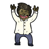 cartoon business man rocking out vector illustration