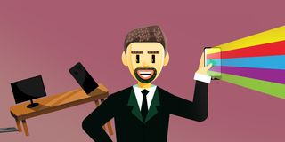 Cartoon business man on social media stock illustration