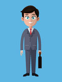 Cartoon business man success work with portfolio. Vector illustration eps 10 Stock Images