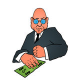 Cartoon business man in a suit with money Royalty Free Stock Photography