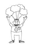 Cartoon business man think idea Stock Photo