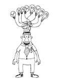 Cartoon business man think idea Royalty Free Stock Photos