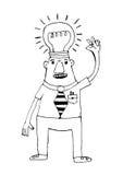 Cartoon business man think idea Stock Photography