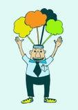 Cartoon business man think idea Stock Image