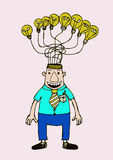 Cartoon business man think idea Royalty Free Stock Photography