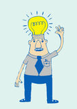 Cartoon business man think idea Stock Photography