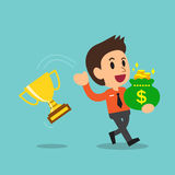 Cartoon business man throwing back trophy and carrying money bag Royalty Free Stock Image
