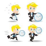 Cartoon Business man with time Stock Image