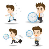 Cartoon Business man with time Stock Photography