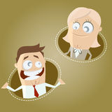 Cartoon business man and woman. Funny illustration of cartoon business man and woman Stock Photography
