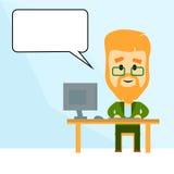 Cartoon Business Man Working At Computer Desktop Chat Bubble Stock Photos