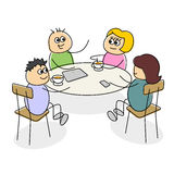 Cartoon business meeting having coffee at a table Royalty Free Stock Image