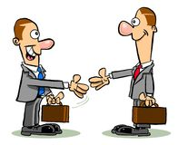Cartoon business men. Cartoon caricature of business men meeting and shaking hands Royalty Free Stock Photo