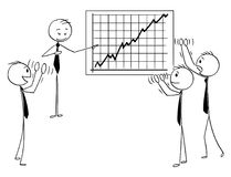 Cartoon of Business People Applauding to Speaker Pointing at Growth Chart Stock Photo