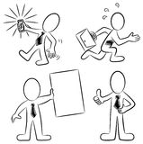 Cartoon business people black and white Stock Image
