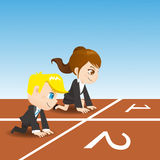 Cartoon business people competing Royalty Free Stock Photo