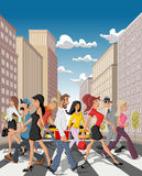 Cartoon business people crossing a downtown street. In the city with tall buildings royalty free illustration