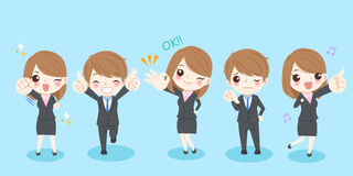 Cartoon business people. Cute cartoon business people with different gesture on blue background royalty free illustration