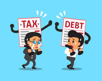 Cartoon business people with debt and tax letter. For design Royalty Free Stock Images