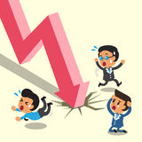 Cartoon business people escape from stock market arrow Royalty Free Stock Photography