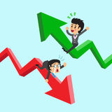 Cartoon business people on green and red arrow Royalty Free Stock Photos