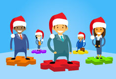 Cartoon Business People Group Standing on Puzzle Royalty Free Stock Photo